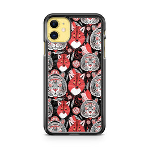 beautiful pattern portraits of tigers and foxes iPhone 11 Case Cover | Oramicase