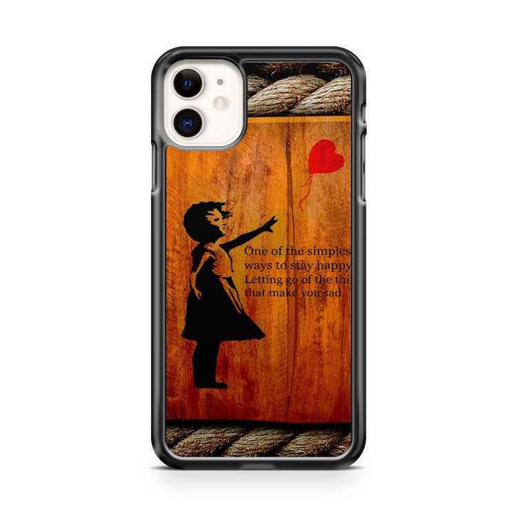 Banksy Girl with Balloon quote in wood iPhone 11 Case Cover | Oramicase