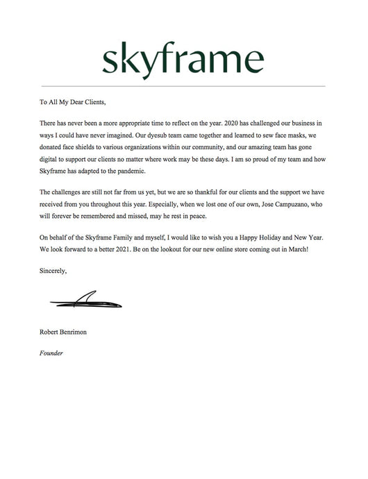 A note from Skyframe's Founder