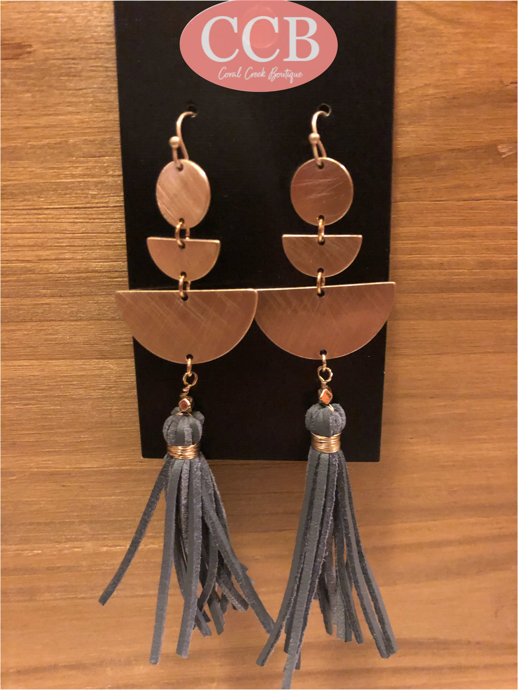 Earrings- Tassel Gray