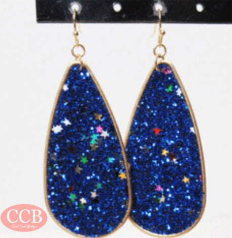 Earrings- Glitter Royal Blue