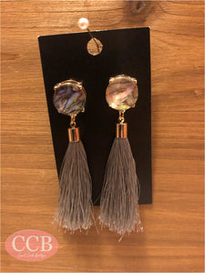 Earrings- Stud Tassel Gray