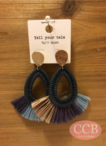 Earrings- Oval Tassel Navy