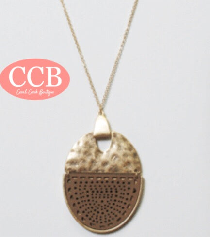 Necklace- Round Gold/Tan