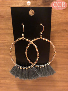 Earrings – Round Tassel Gray