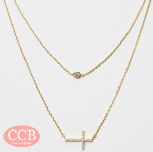 Necklace- Double/ Cross Gold
