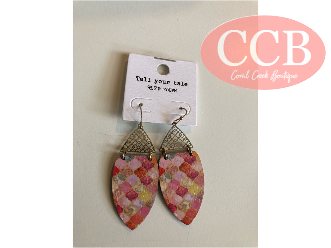 Earrings- Gold/Pink