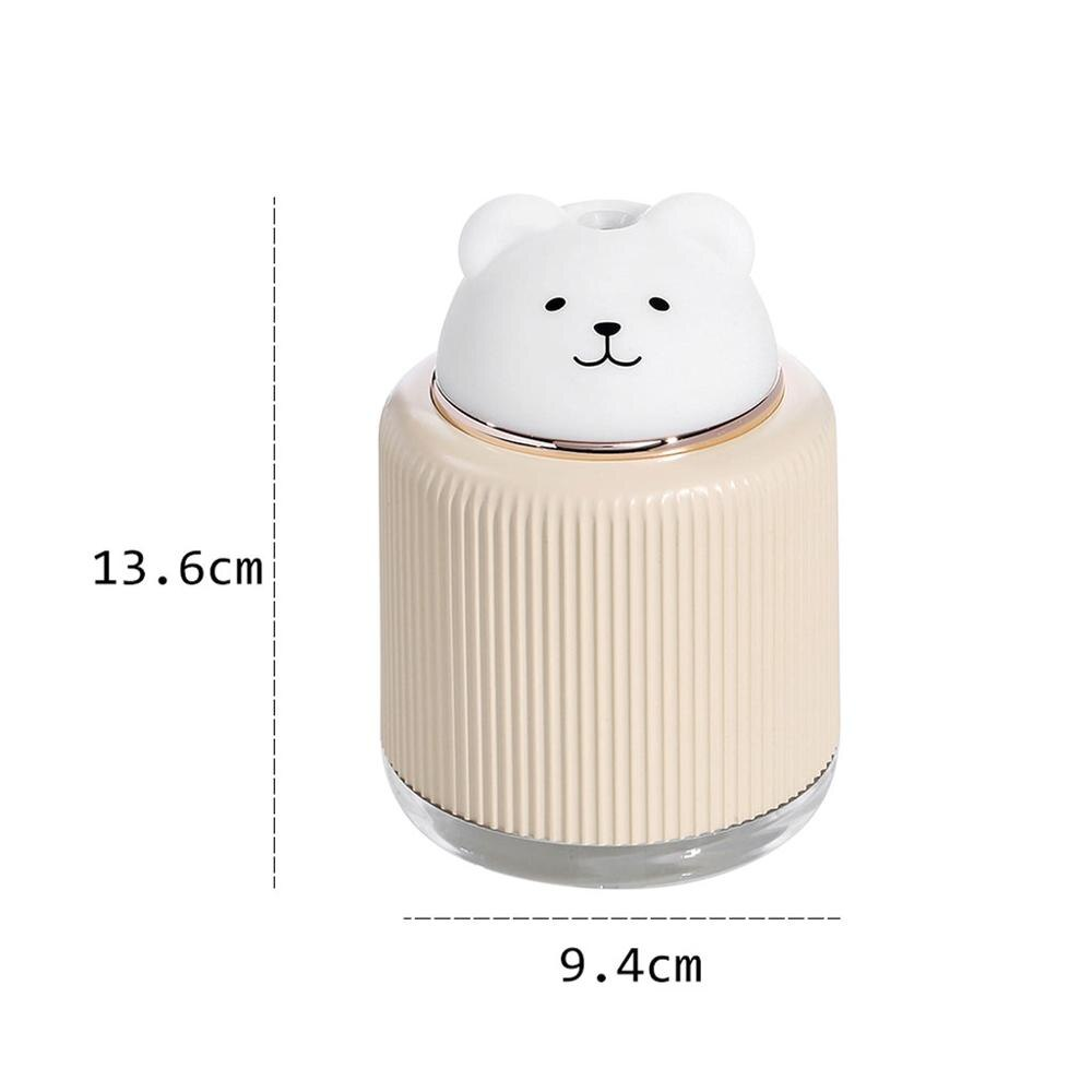 Kawaii Diffuser + Night Light and Fan - Bear Air Humidifier Aroma Essential Oil Diffuser USB Fogger Mist Maker with LED