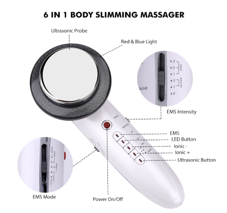 6 in 1 Slimming Machine with EMS, Infrared and Ultrasonic Beauty Skincare Massager for Weight Loss & Improves FDA Skin