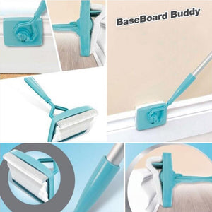 Retractable baseboard handle cleaner