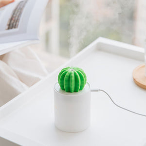 Cactus USB Diffuser + Humidifier - ir Humidifier Night Light With Timed Auto Shutdown