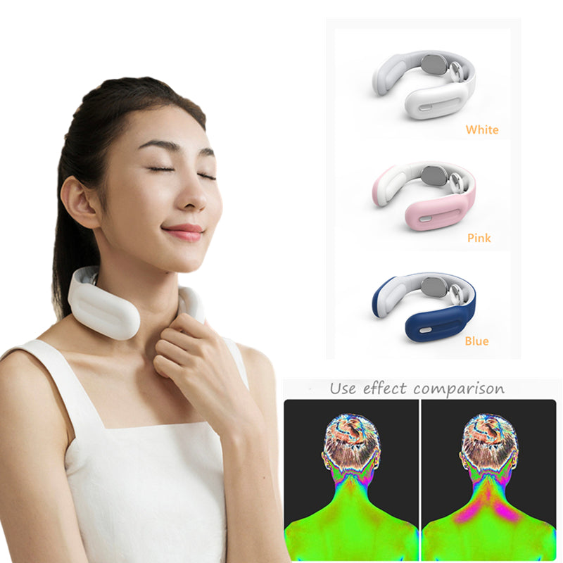 Wireless Portable Neck Massager and Electric Pulse Back - Far Infrared Heating Pain Relief - Health Care Relaxation