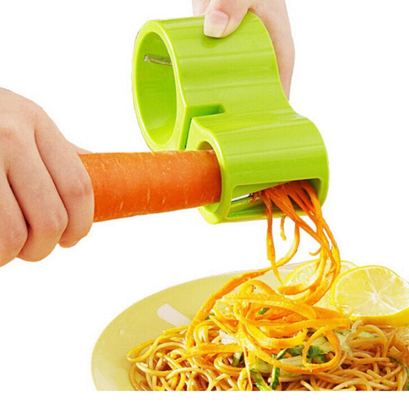 2 in 1 Multifunctional Spiral Cutter Double Grater Shredded Slicer with Knife Sharpener for Vegetables and Noodles