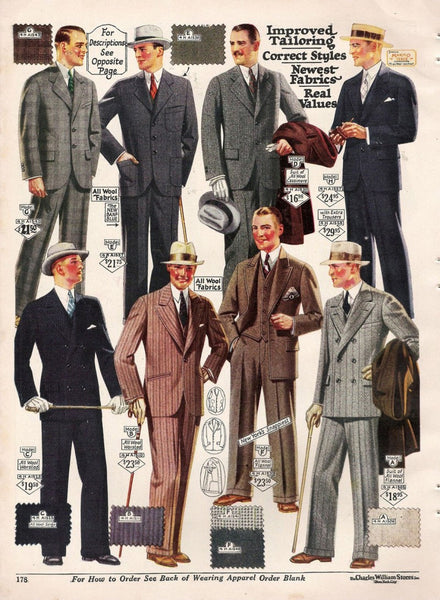 pinstripe suits, cream colored accessories, hats, high waist lines, baggier pants