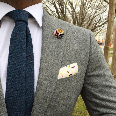 Woolen Plaid Tie, Paisley Pocket Square and Lapel Flower
