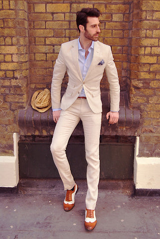 Two Tone White & Tan Brogues