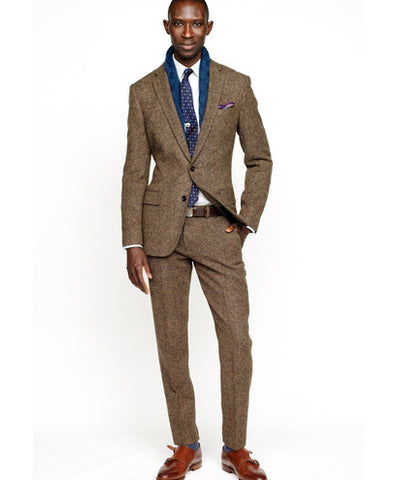Brown Suit with a Blue Tie