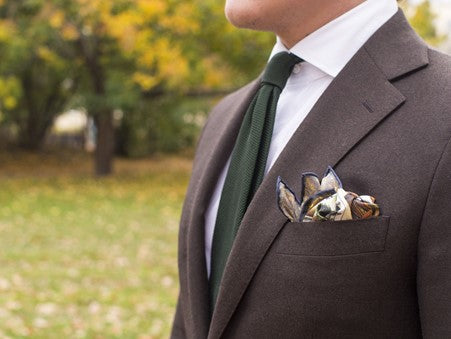 Brown Suit, White Shirt & Green Tie