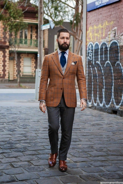 Brown Sports Jacket with Grey Pants
