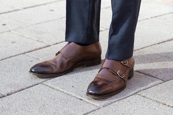 Grey Pants & Brown Double Monk Straps