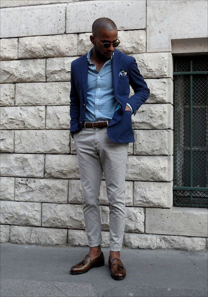 Grey Pants & Brown Loafers