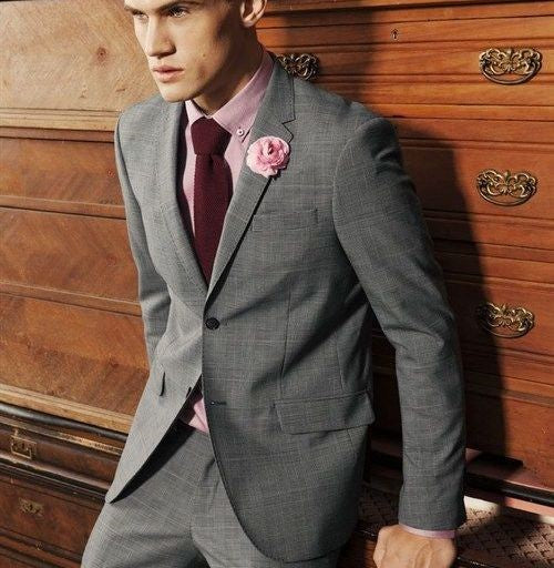 Grey Suit & Burgundy Tie