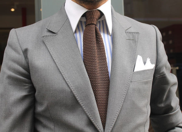 Grey Suit & Brown Knit Tie