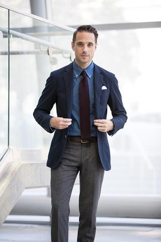 Business Casual with Knitted Tie & White Pocket Square
