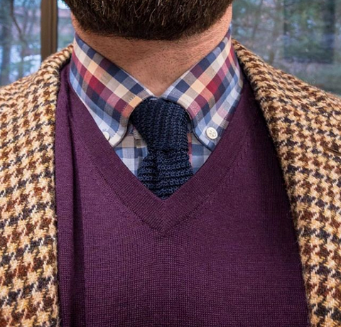 Navy Knit Tie Business Casual