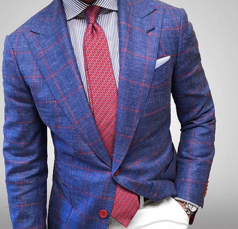 Blue and Red Printed Silk Tie