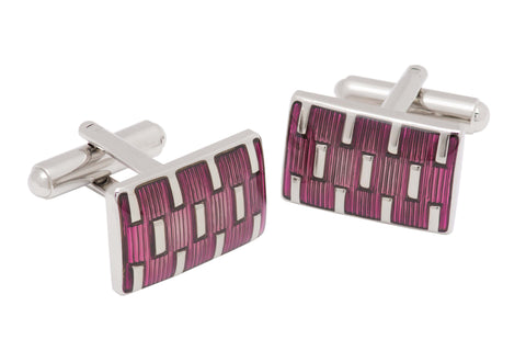 Purple Enamel Rhodium Plated Cufflinks