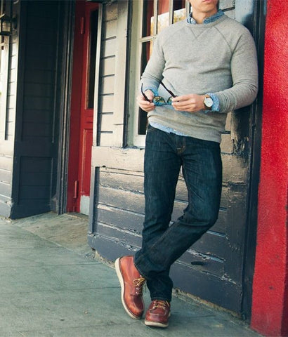 Dark Denim Paired with a Sweater