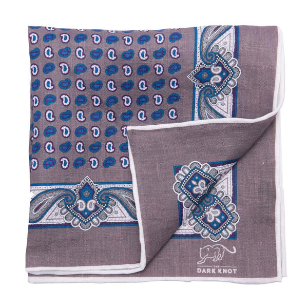 Grey Foulard Linen Pocket Square