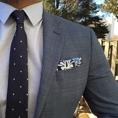 Blue & White Floral Linen Pocket Square