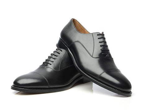 Black Oxford Cap-Toe Shoes