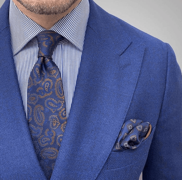 Blue Paisley Tie With Striped Blue Shirt
