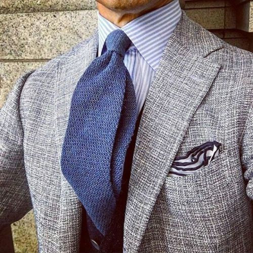 Light Grey Suit, Blue Shirt & Tie