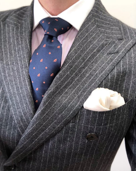 Pinstripe Charcoal Grey Suit, Pink Shirt & Tie