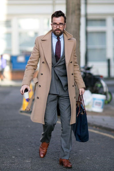 Grey Suit with Brown Overcoat