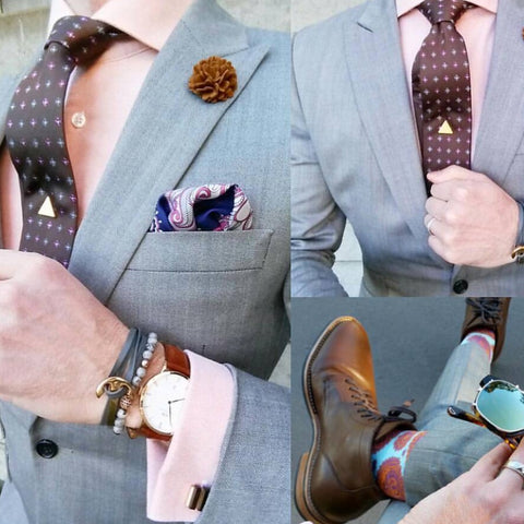 Brown Geometric Silk Tie