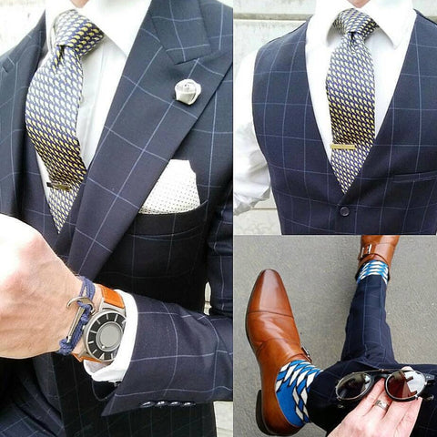Blue & Yellow Printed Silk Tie