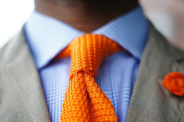 Orange Knit Tie Blue Shirt