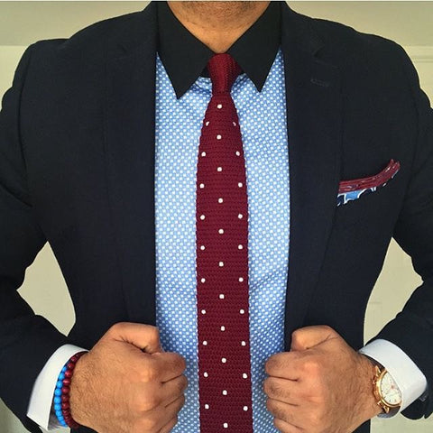 Burgundy Polka Dot Knit Tie