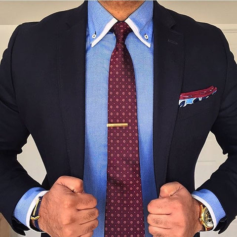 Blue Shirt with Burgundy Tie