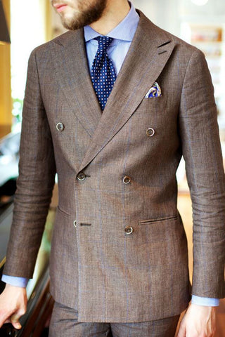 Double Breasted Brown Linen Suit