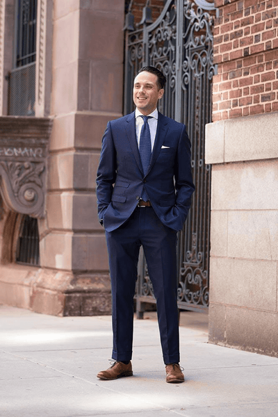 Navy Blue Suit & Brown Shoes