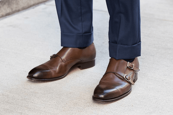 Navy Suit & Brown Double Monk Straps