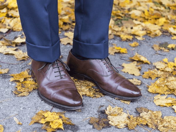 Blue Suit & Medium Brown Oxford Cap Toe
