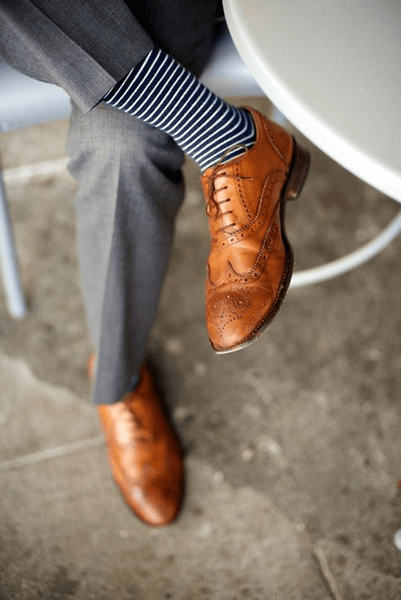 Light Grey Suit Tanned Brogues