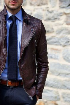 Leather Jacket with Knitted Tie